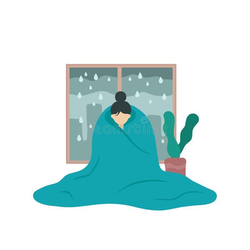 Грустная больная женщина в депрессии покрытой с одеялом иллюстрация штока