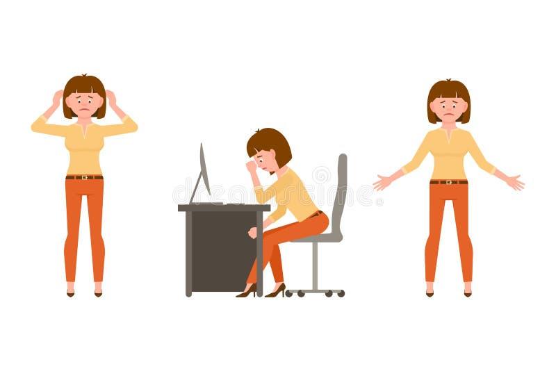 Грустная, вымотанная, жалкаяся дама офиса в оранжевой иллюстрации вектора брюк стоковая фотография