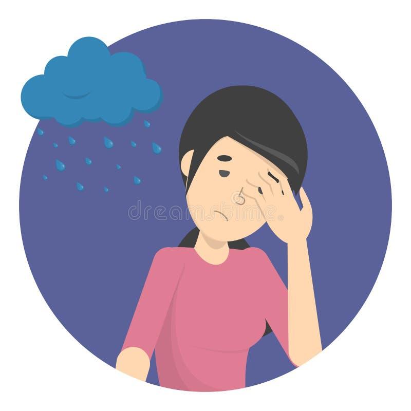 Грустная подавленная женщина с дождливым облаком бесплатная иллюстрация