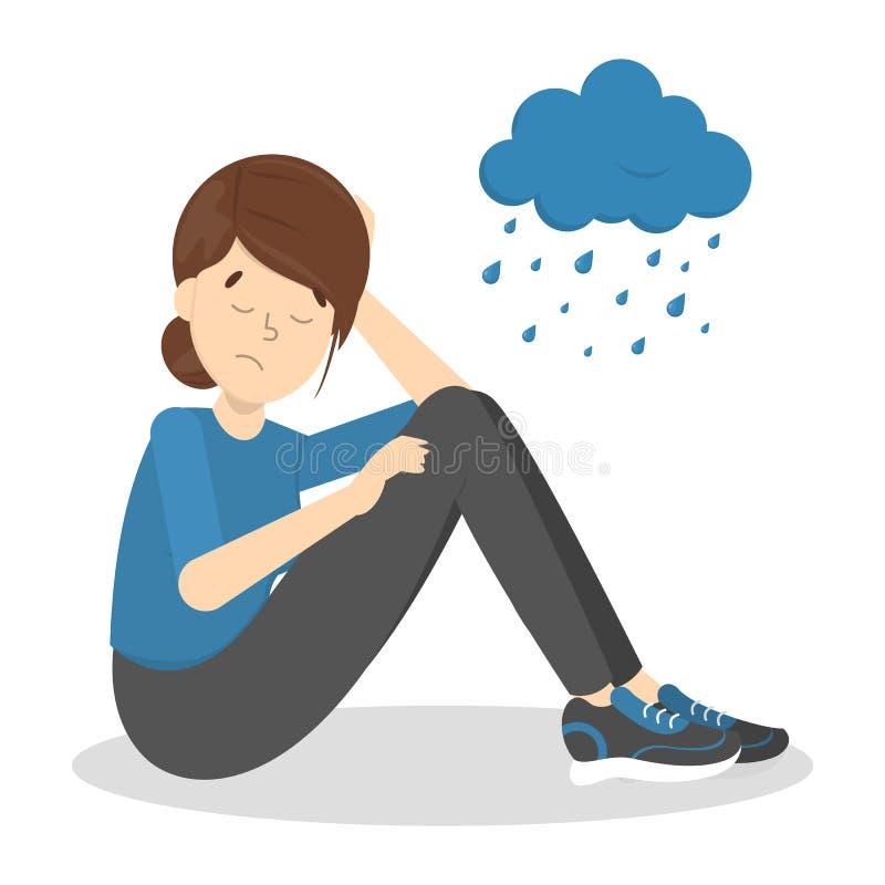 Грустная подавленная женщина с дождливым облаком иллюстрация вектора
