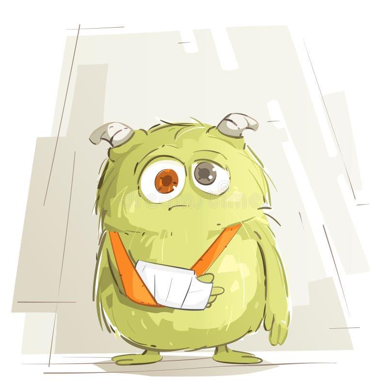 Грустное чудовище младенца иллюстрация вектора