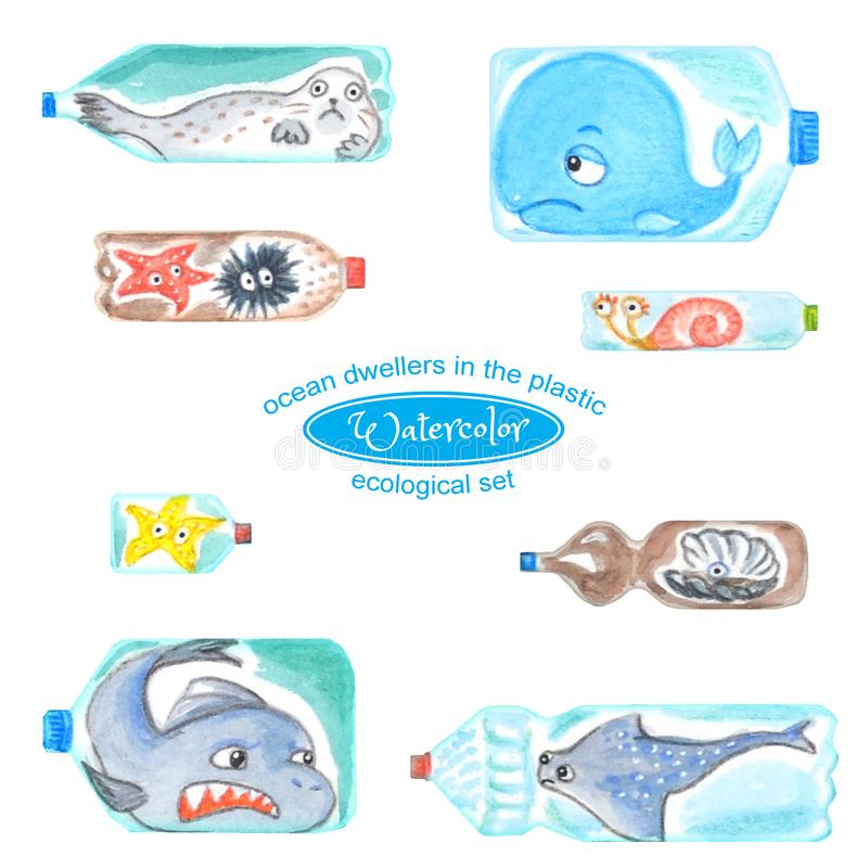 Грустные морские животные в пластиковых бутылках несчастны с загрязнением океана иллюстрация вектора