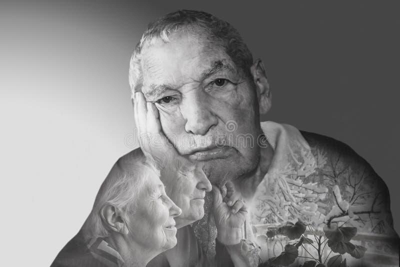 Грустные старшие пары стоковое изображение rf
