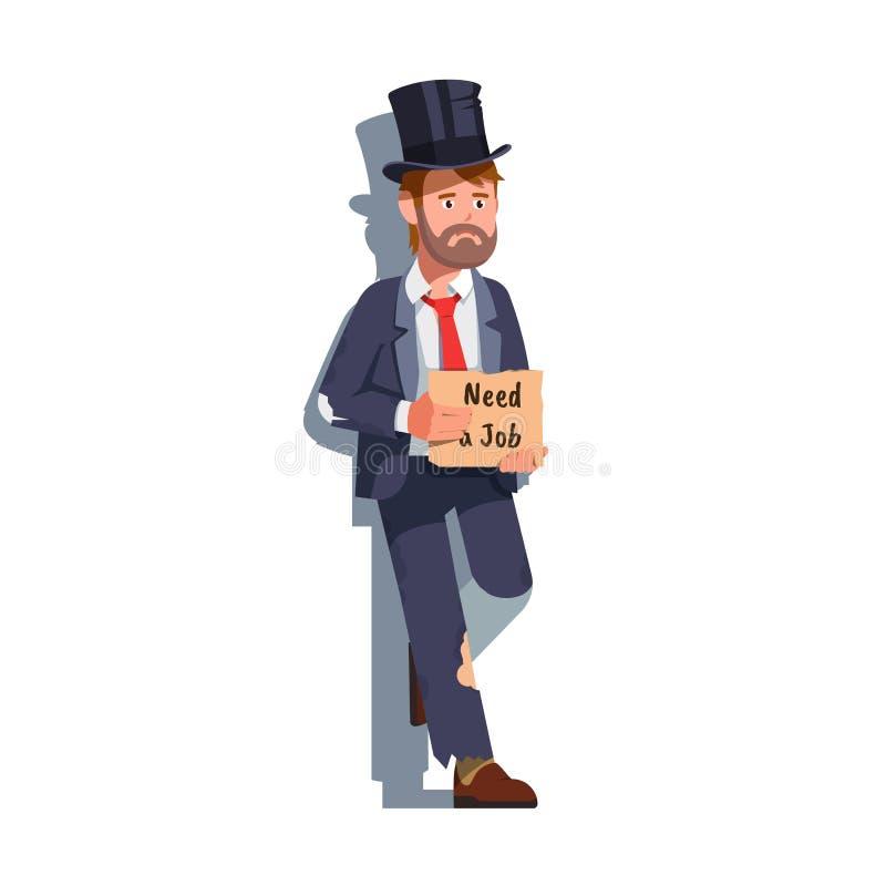 Грустный бизнесмен, держащий картон, нуждается в работе иллюстрация штока