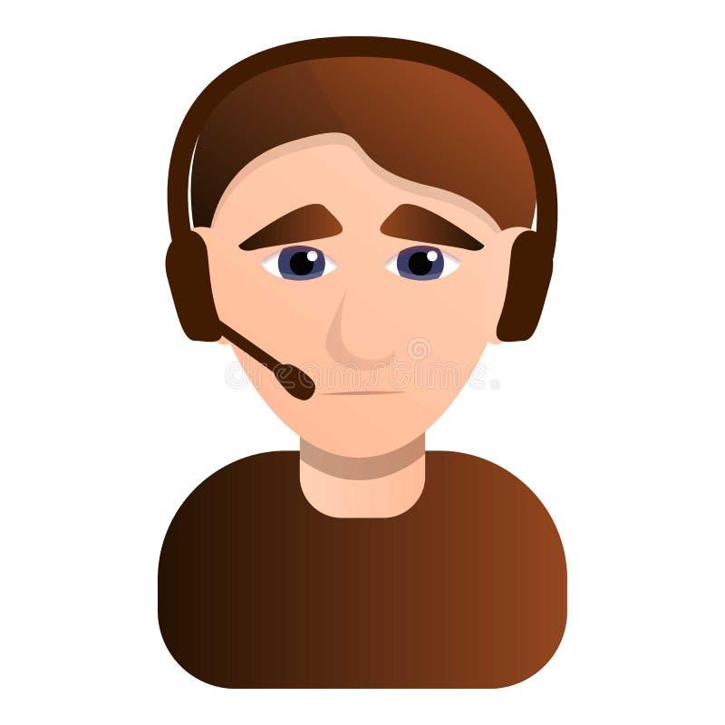 Грустный значок человека центра телефонного обслуживания, стиль мультфильма бесплатная иллюстрация