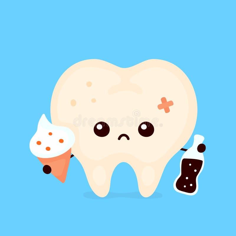 Грустный нездоровый больной человеческий зуб иллюстрация вектора