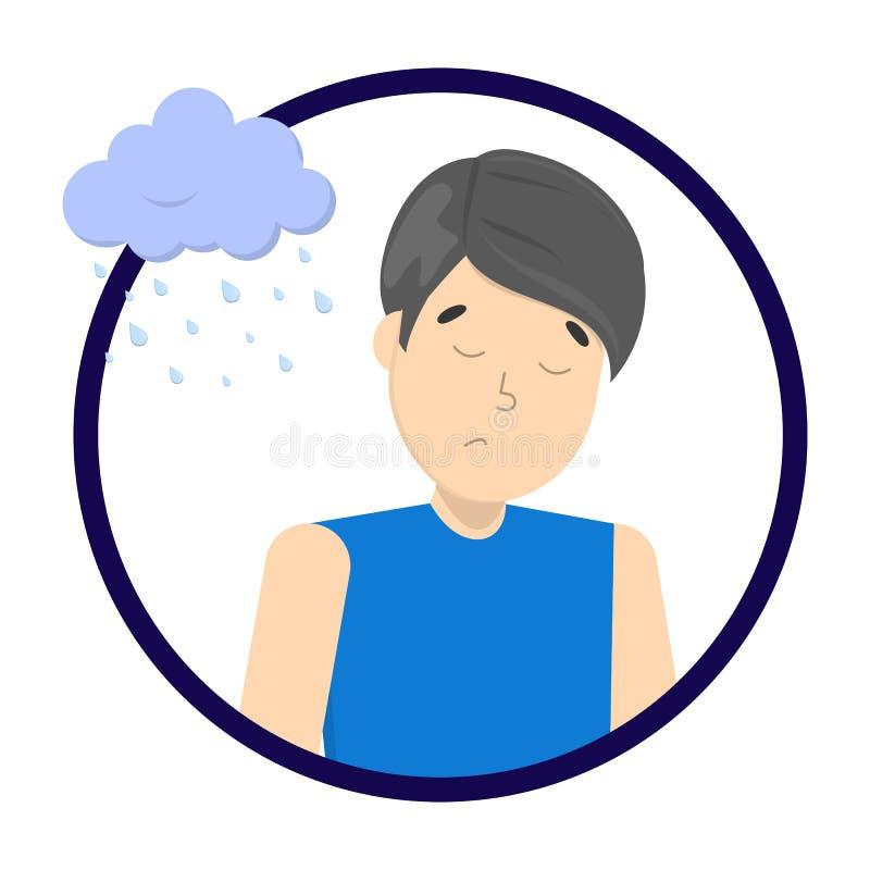 Грустный подавленный человек с дождливым облаком выше иллюстрация вектора