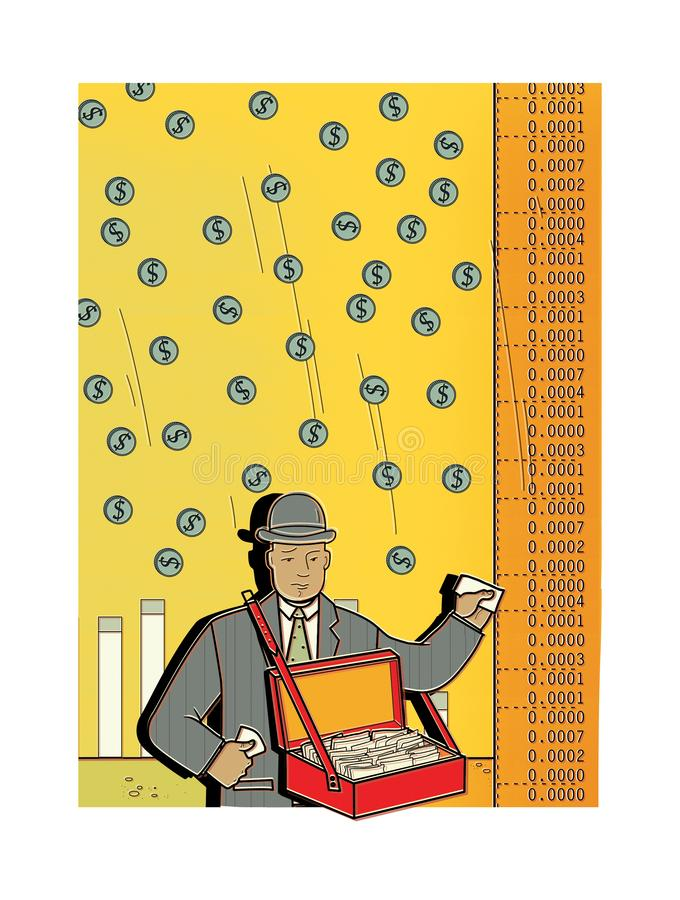 Грустный человек в деловом костюме продает доли Дождь денег от неба разносчик торговля Разносчик товаров Фондовая биржа бесплатная иллюстрация