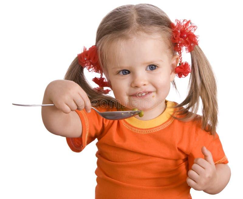 груша девушки младенца подавая стоковое фото