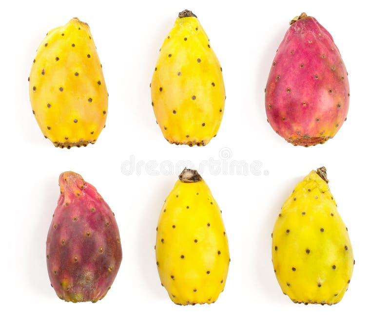 Груша или opuntia красного конца желтая колючая изолированные на белой предпосылке Взгляд сверху Плоское положение Комплект или с стоковое изображение