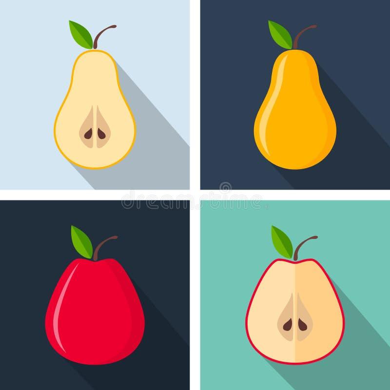 Груша и яблоко Красочный плоский дизайн Плодоовощи с длинной тенью иллюстрация штока