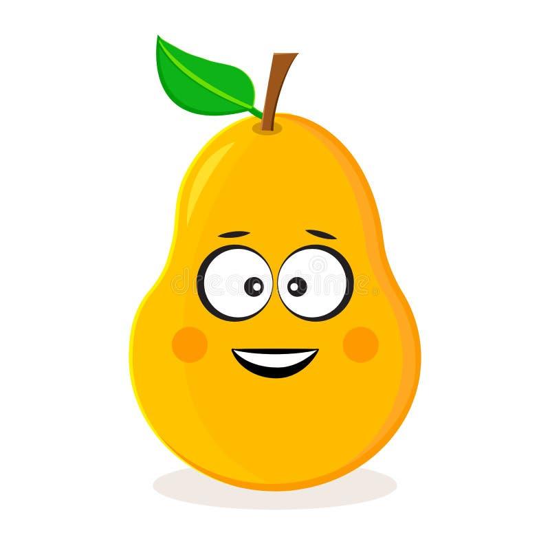 Груша мультфильма желтая Смайлик плода r иллюстрация вектора