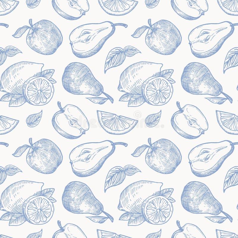 Груши и лимоны яблок руки вычерченные жмут картину предпосылки вектора безшовную Плоды и листья делают эскиз к карте или крышке бесплатная иллюстрация