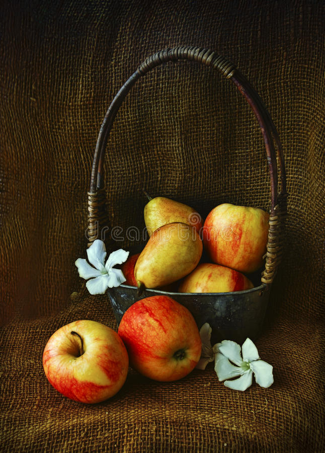 Груши и яблоки стоковое изображение rf
