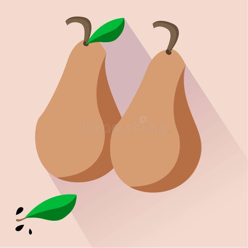 2 груши сулоя коричневых с листьями и семенами иллюстрация вектора