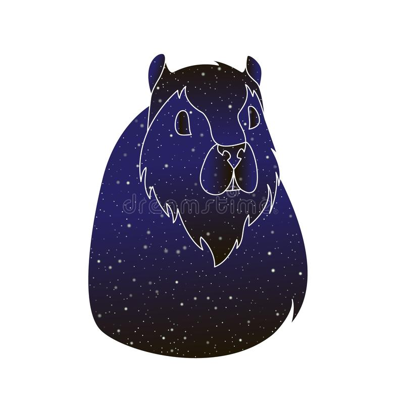 Грызун любимцев Иллюстрация морской свинки плана вектора животная, силуэт цвета ночного неба изолированный на белой предпосылке иллюстрация штока