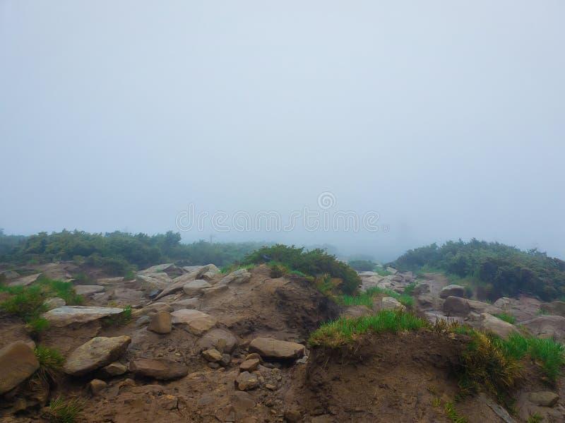 Грязная земля горы как смесь глинистых пород и заводов типичных на весенний сезон на холмах Карпат Туманный ландшафт стоковое изображение