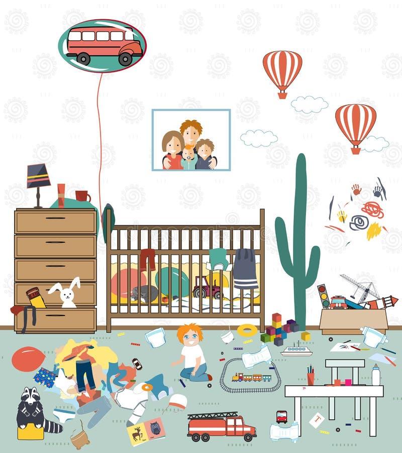 Грязная комната детей иллюстрация штока