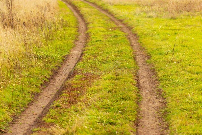 Грязная улица в поле на траве стоковые изображения