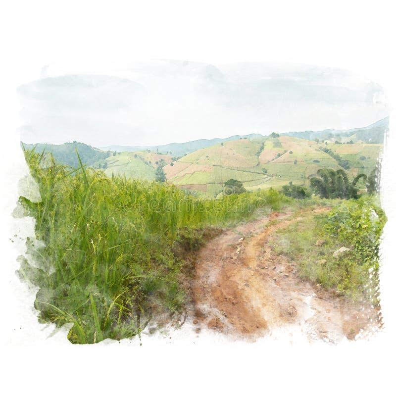 Грязная улица в сельском районе иллюстрация вектора