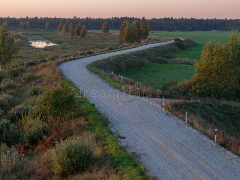 грязная улица, луга, красивые красочные деревья на день осени, стоковое фото rf