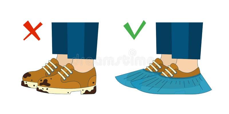 Грязные ботинки и крышки ботинка также вектор иллюстрации притяжки corel иллюстрация штока