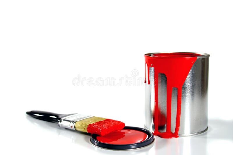 грязные поставкы красного цвета краски стоковые фотографии rf