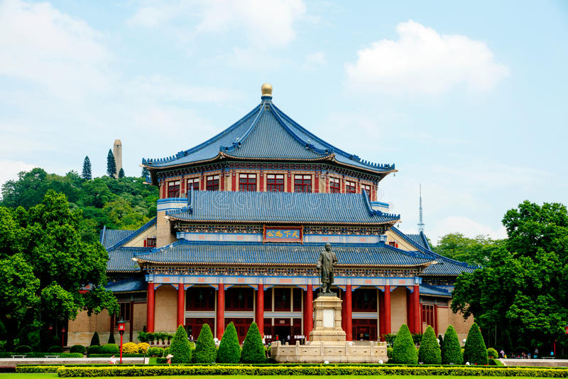 Гуанчжоу, Китай, зала Сунь Ятсен мемориальная стоковые изображения rf