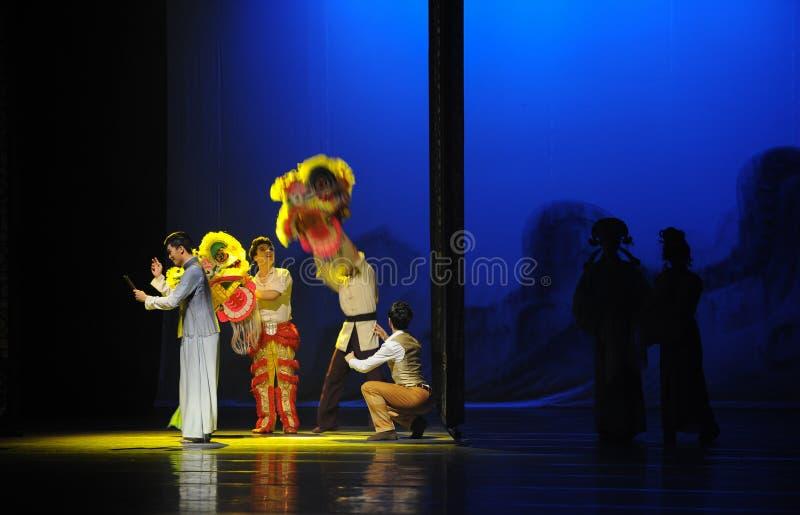 Гуандуна льва танца- поступок сперва событий драмы-Shawan танца прошлого стоковое фото rf