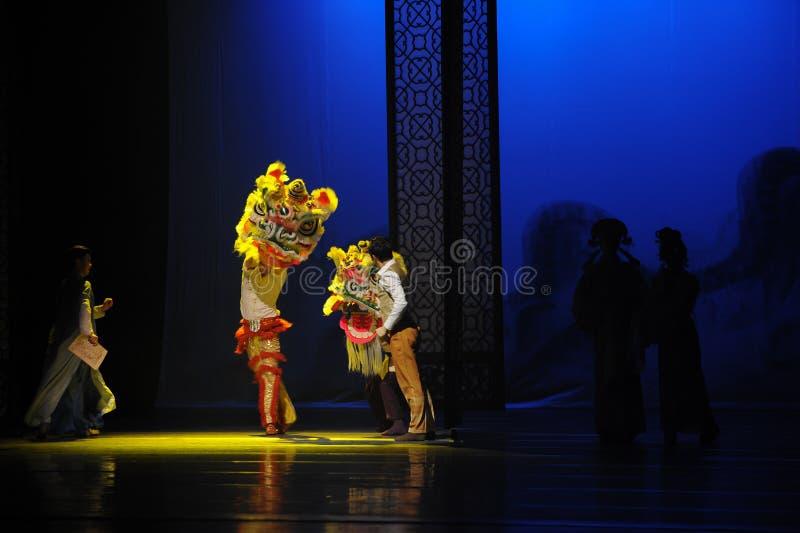 Гуандуна льва танца- поступок сперва событий драмы-Shawan танца прошлого стоковые фото