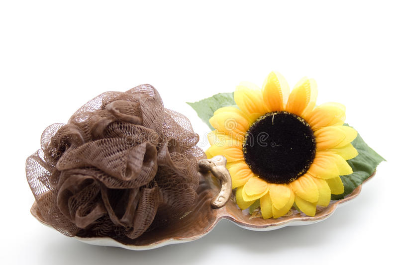 Губка массажа с солнцецветом стоковые фото