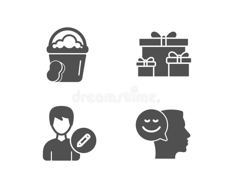 Губка, редактирует персону и удивляет значки коробок r Более чистое ведро, информация о пользователе изменения, праздничные подар бесплатная иллюстрация