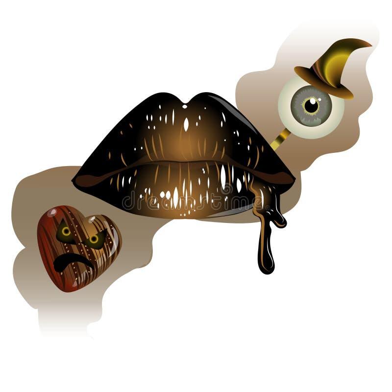 Губы вишни иллюстрация вектора