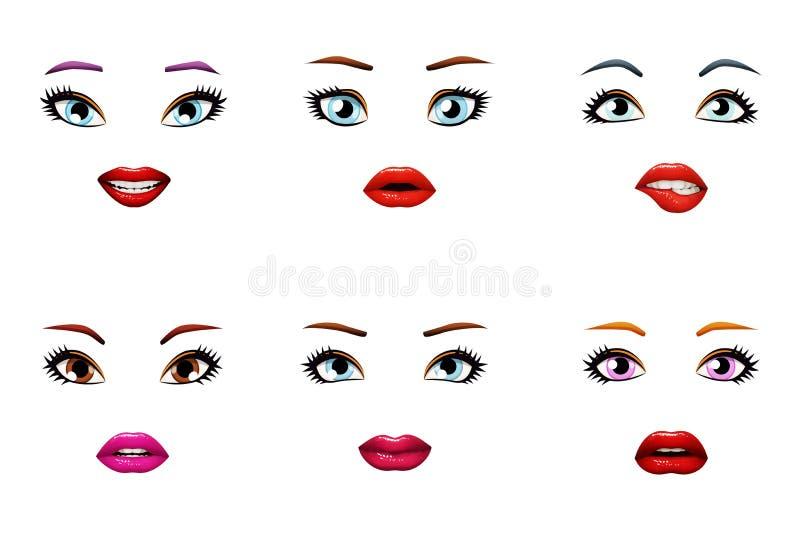 Губы женщины девушек моды стильные немножко раскрывают рот женские глаза изолировали иллюстрацию вектора установленного дизайна иллюстрация штока