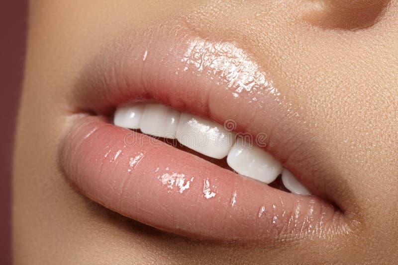Губы крупного плана толстенькие Забота губы, увеличение, заполнители Фото макроса с деталью стороны Естественная форма с совершен стоковые фото