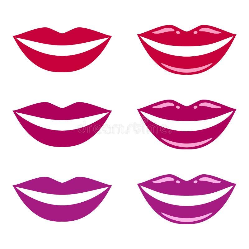 Губы улыбки, пурпурных и бургундского, рот женщина vamp очарование, яркость, лоск вектор иллюстрация вектора