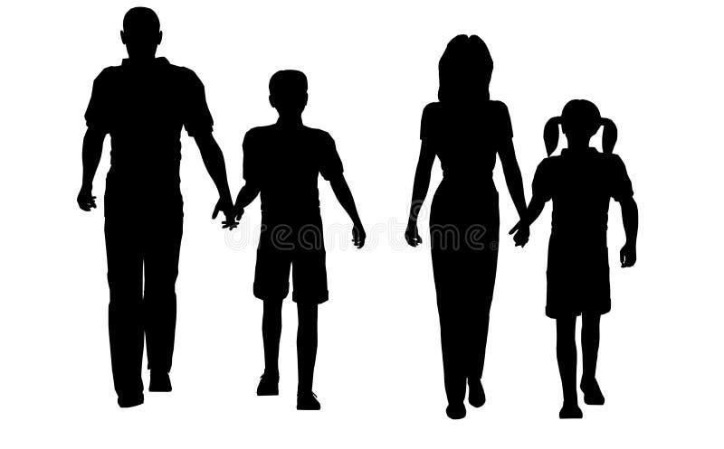 гулять семьи иллюстрация вектора