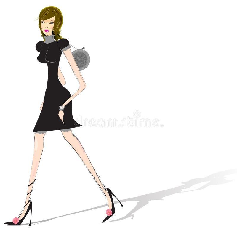 гуляя женщина иллюстрация вектора