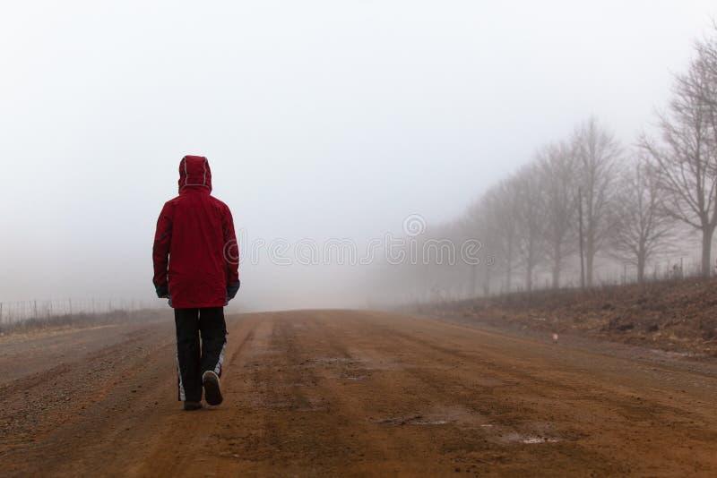 Гуляя мужчина детенышей судьбы грязной улицы тумана стоковая фотография