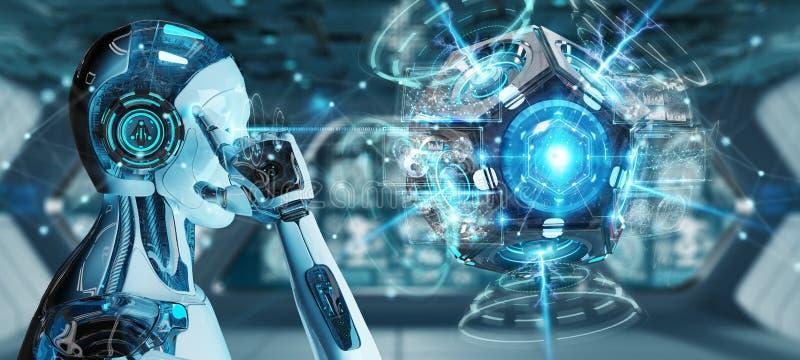 Гуманоид белого человека используя перевод камеры слежения 3D трутня иллюстрация штока