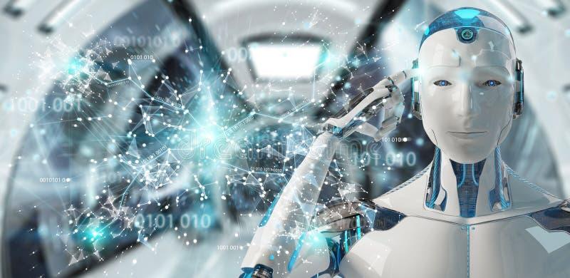 Гуманоид белого человека используя цифровое renderin интерфейса 3D hud глобуса иллюстрация вектора