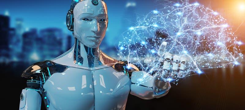 Гуманоид белого человека создавая перевод искусственного интеллекта 3D