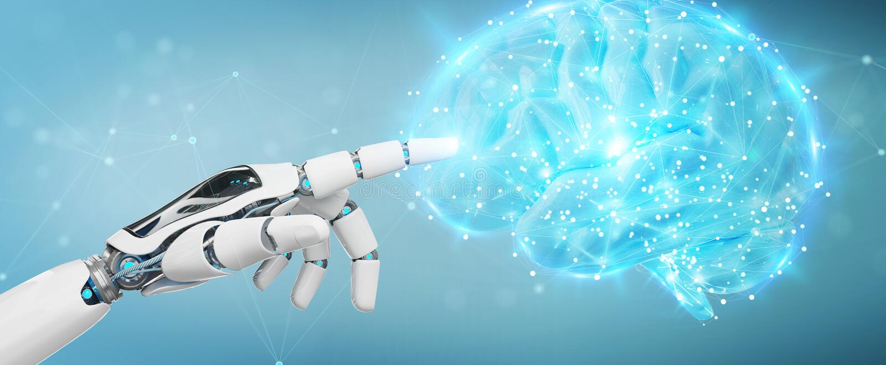 Гуманоид белого человека создавая перевод искусственного интеллекта 3D бесплатная иллюстрация