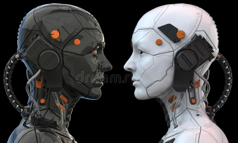 Гуманоид женщины киборга робота андроида - перевод 3d иллюстрация вектора