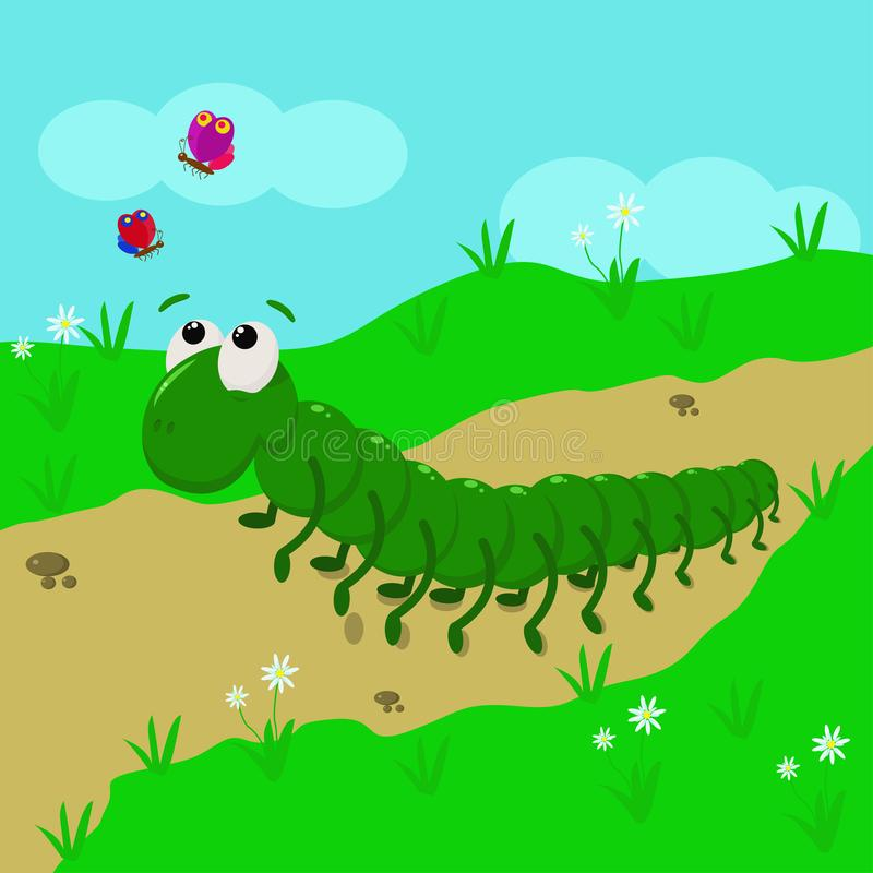 Гусеница в луге - иллюстрация вектора, eps иллюстрация вектора