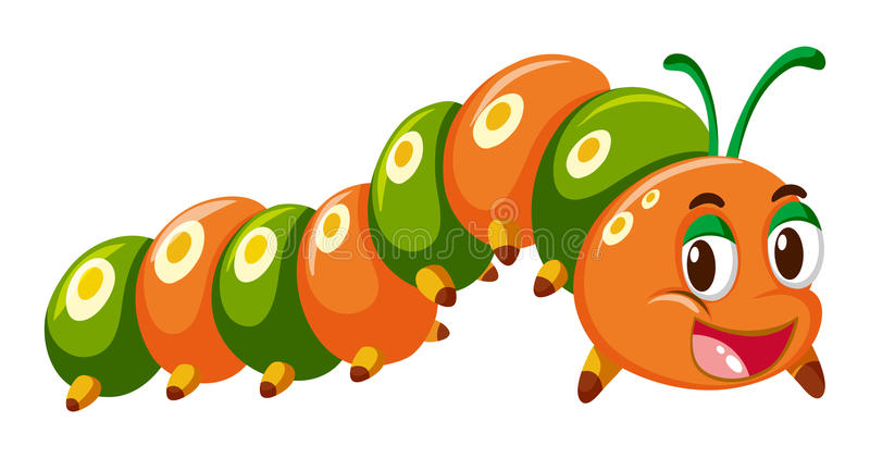 Гусеница в оранжевом и зеленом цвете иллюстрация вектора