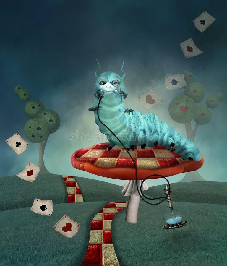 Гусеница на грибе в ландшафте страны бесплатная иллюстрация