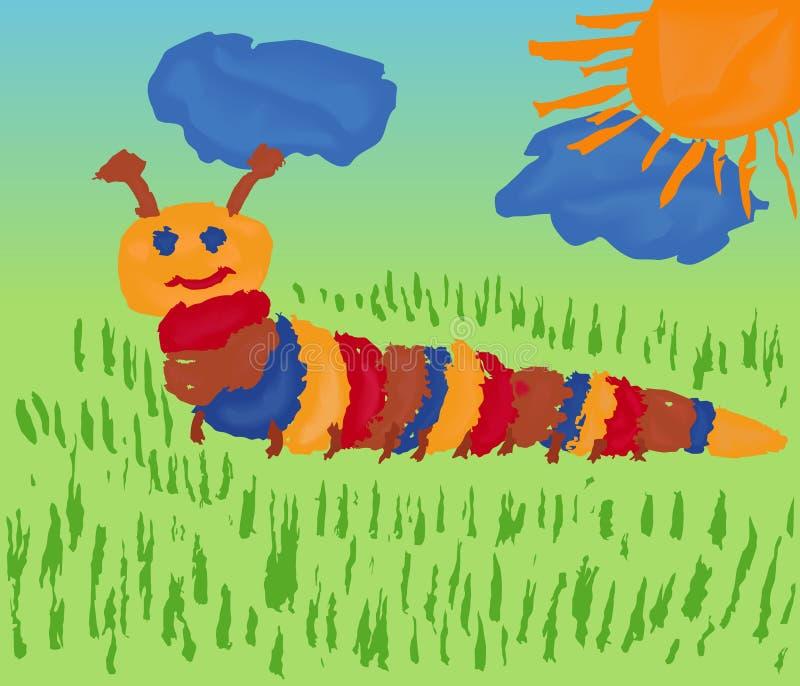 Гусеница на лужке иллюстрация штока