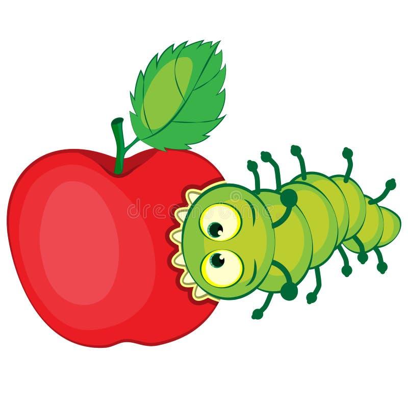 Гусеница шаржа грызет яблоко иллюстрация вектора