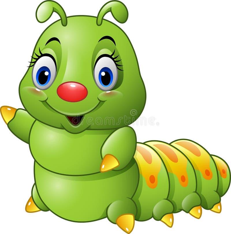 Гусеница шаржа зеленая иллюстрация вектора